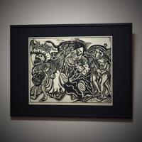 竹田鎭三郎「メキシコのカーニバル」木版 1974年 E.P  200部制作