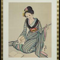 竹久夢二 三味線を弾く娘 木版画
