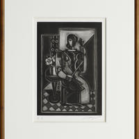 島田章三 「室内休息」銅版画( メゾチント)  限定数80部 E.A. 1980年