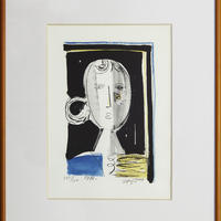 島田章三 「顔」版画 (手彩色) 150部の内の 145番  1976年