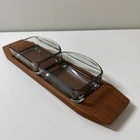 デンマーク製/チークトレイ&二連ガラスプレートセット 02