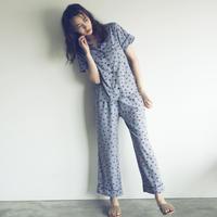 【予約商品】002102 / フラワードットプリントパジャマ 2点セット【B】