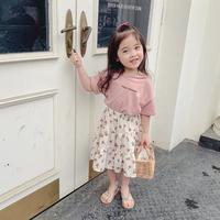 【2色展開】Tシャツ&花柄スカートset