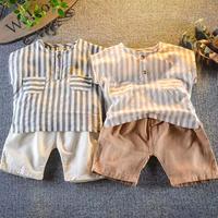 【2色展開】ストライプシャツ×デザインボタンパンツset