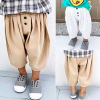 【2色展開】3つボタン七分丈パンツ