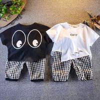 【2色展開】アシメTシャツ×チェックパンツset