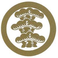 スコッチカル家紋シール 丸に左三階松 金  SCK-072 約35mm