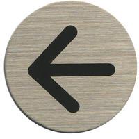 ステンレスサインプレート ST-R027 1㎜厚 粘着テープ付 直径40㎜ 矢印