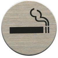 ステンレスサインプレート ST-R015 1㎜厚 粘着テープ付 直径40㎜ 喫煙マーク
