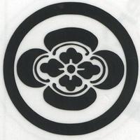 スコッチカル家紋シール 丸に木瓜 黒  SCK-111 約35mm