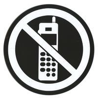 アクリルマットブラックプレート ACMBR-010 2㎜厚 直径120㎜ 携帯禁止マーク