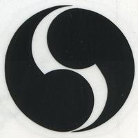 スコッチカル家紋シール 右二つ巴 SCK-015 黒 約35mm