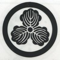 スコッチカル家紋シール 丸に三つ柏 黒  SCK-037 約35mm