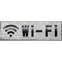 ステンレスサインプレート ST-A031 1㎜厚 粘着テープ付 30㎜×100㎜ Wi-Fiマーク付