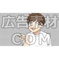 サプリを手にする男性(漫画広告素材#05)