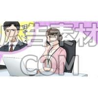 仕事中に片思いの男性を思い出す女性(漫画広告素材#05)