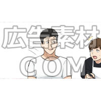 友達に話しかける男性1(漫画広告素材#05)