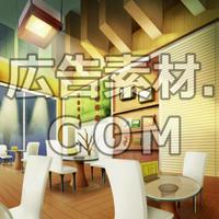 スマホ広告向け背景画像:お洒落なカフェ(夜)