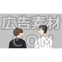 友達に話しかける男性2(漫画広告素材#05)