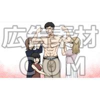 筋肉質な男性を触る女性たち(漫画広告素材#05)