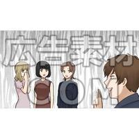 男性に話しかけられドン引きする女性たち(漫画広告素材#05)