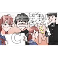 学校で男子と打ち合わせするニキビ顔の女性(漫画広告素材#04)
