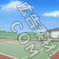 スマホ広告向け背景画像:学校のテニスコート(昼)