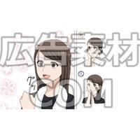 肌をケアして自信を持つ女性(漫画広告素材#05)