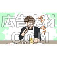 焼き肉を食べる男性(漫画広告素材#05)