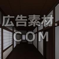 スマホ広告向け背景画像:江戸時代の屋敷廊下(夜)