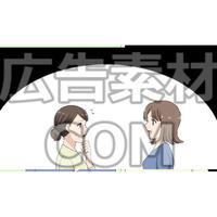 姉妹にヒントを教えてもらう女性2(漫画広告素材#05)