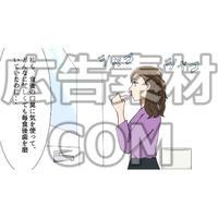 洗面所で歯磨きする女性(漫画広告素材#05)