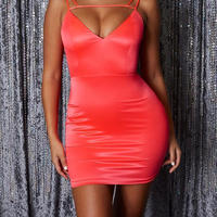 Satain Mini Dress Pink 0007