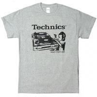 テクニクスtシャツ TECHNICS TURNTABLE GREY テクニクスターンテーブル ロゴt tee dj ロックtシャツ バンドtシャツ