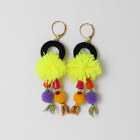 pompon pierce/earring YellowXBlack