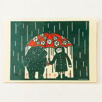 永野徹子ポストカード<傘をさす>