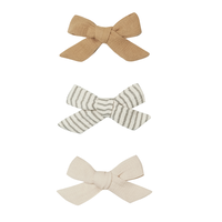 【QUINCY MAE】BOW W. CLIP, SET OF 3 | HONEY, BASIL, NATURAL