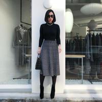 【9月18日まで5%OFF】ブラックエレガントニットスカート
