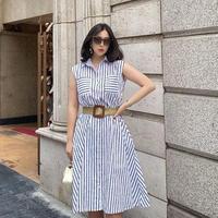 インパクトストライプシャツドレス【ベルトセット】