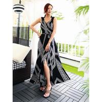 【7月30日まで5%OFF】クリスタルブラックラップドレス