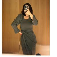 レベッカ絞りドレス【裏起毛で暖かい♡伸縮自在】