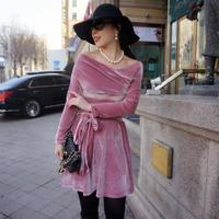 ★160cm前後の方にお薦め★私が私らしく輝くためのヴェルヴェットドレス【パープルピンク】★高級感ある艶感★