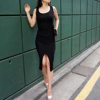サマーニットロングドレス【ブラック】