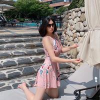 【7月16日まで5%OFF】キャロラインの花園ワンピース水着【太ももカバー!Lサイズまで❤︎】
