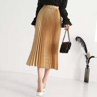 8色の光沢カラープリーツスカート【ウエストゴムで楽チン!】