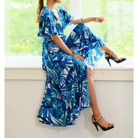 【TOP写真ユヒャン着用ドレス】究極ロイヤルブルーのラップドレス【シワにならず伸縮自在】