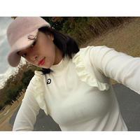 【ゴルフウェア】サイドフリルトップス【滑らか暖かい】