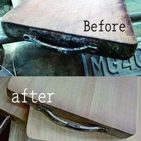 ハンドル付きや形状の複雑なまな板の削り直し