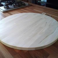 現品処分 大きくて丸いまな板 50Φ 寄せ木 天板みたい