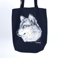 ネイビートートバッグ オオカミ